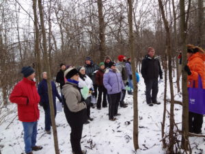 Visitors on Winter landscape trek on the grounds of Fort Ticonderoga
