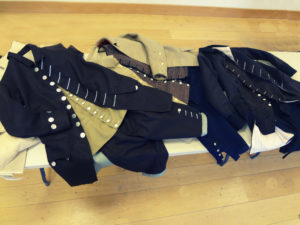 3 complete suits, coat, waistcoat and breeches