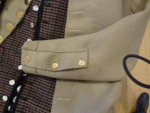 A mariner's cuff on a short coat or sailor's jacket