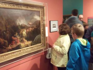 "Richmond Elementary students viewing ""Gelyna"" by Thomas Cole in the Fort's ""The Art of War"" exhibit"