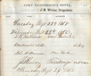 Fort Ticonderoga Hotel guest book signatures