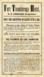 Handbill describing the amenities offered at the Fort Ticonderoga Hotel in 1868