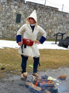 Soldier wearing wool leggings and mocassins