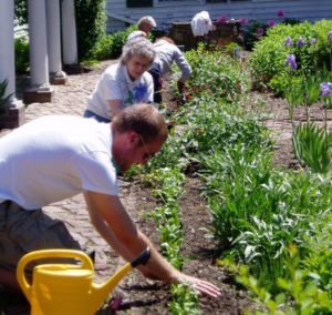 Staff and volunteers planting flowers