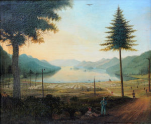 "Thomas Davies' ""View of the Lines at Lake George"" painting"