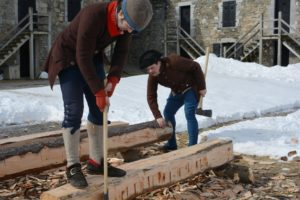 All aspects of soldiers' lives, relied on teamwork whether fighting, cooking, or surviving a campaign. Soldiers' carpentry is no exception and provide an exciting project with which to tell the much bigger story of 1776, one chop at a time.