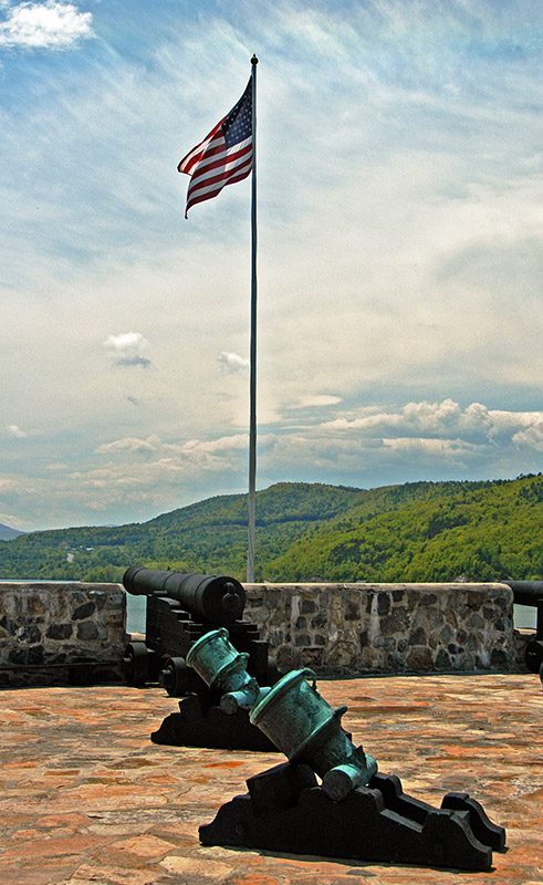 Cannons with flag pole in background