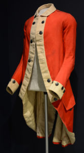 Uniform coat of the Boston Independent Company of Cadets, 1772-1774, worn by Jeduthan Baldwin's cousin Cyrus Baldwin's prior to the Revolution. (Collection of the Fort Ticonderoga Museum)