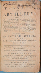 Muller Title Page Treatise of Artillery