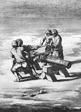 Figure of men cutting cannon