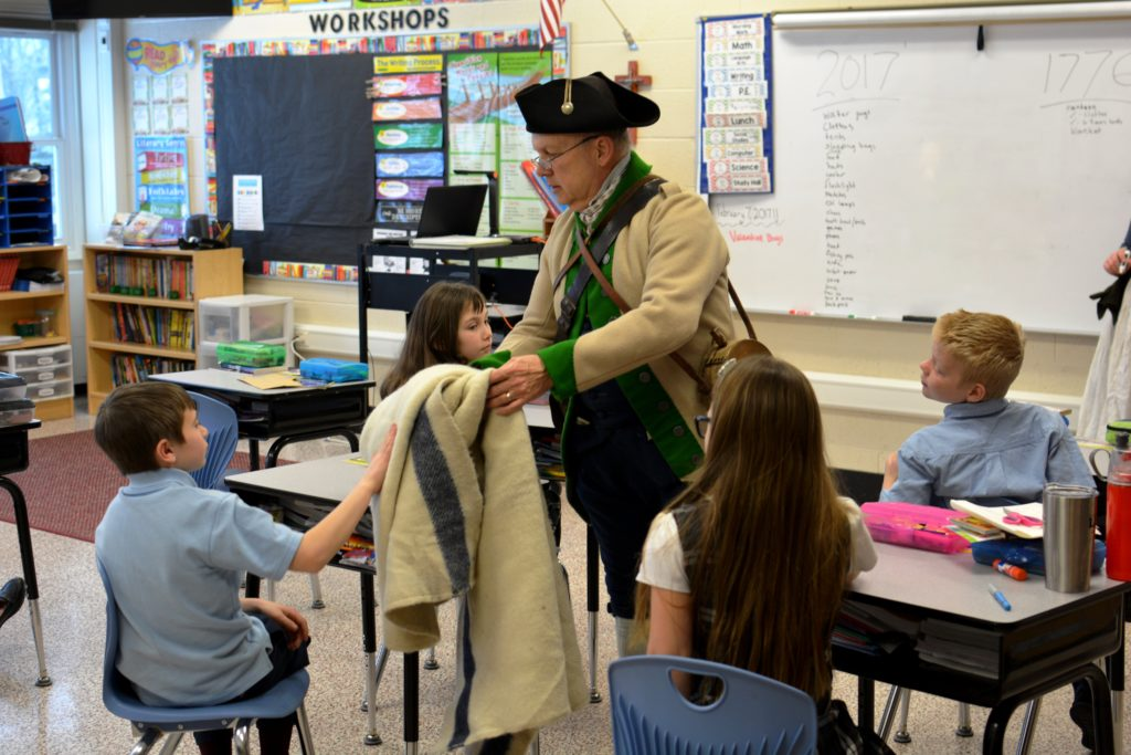 Students learning about Fort Ticonderoga in the classroom