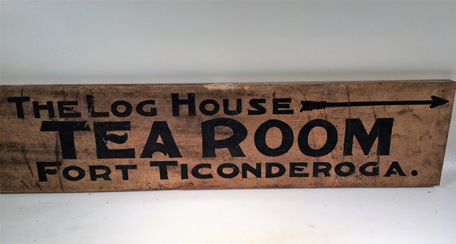 The Log House Tea Room at Fort Ticonderoga sign