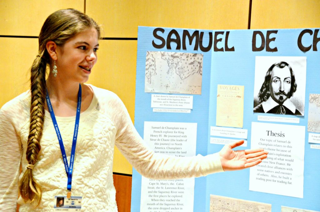 Student presenting project at North Country History Day