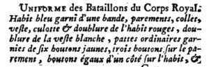 French text describing French Royal Artillery uniforms