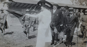 Sarah Pell leading President Taft on a tour of the restoration of Fort Ticonderoga