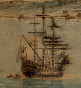 Illustration of ship with sails