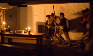 battle reenactment at night at Fort Ticonderoga