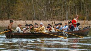 Soldiers Rowing in Bateau