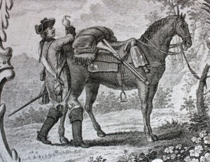 Illustration of man packing horse