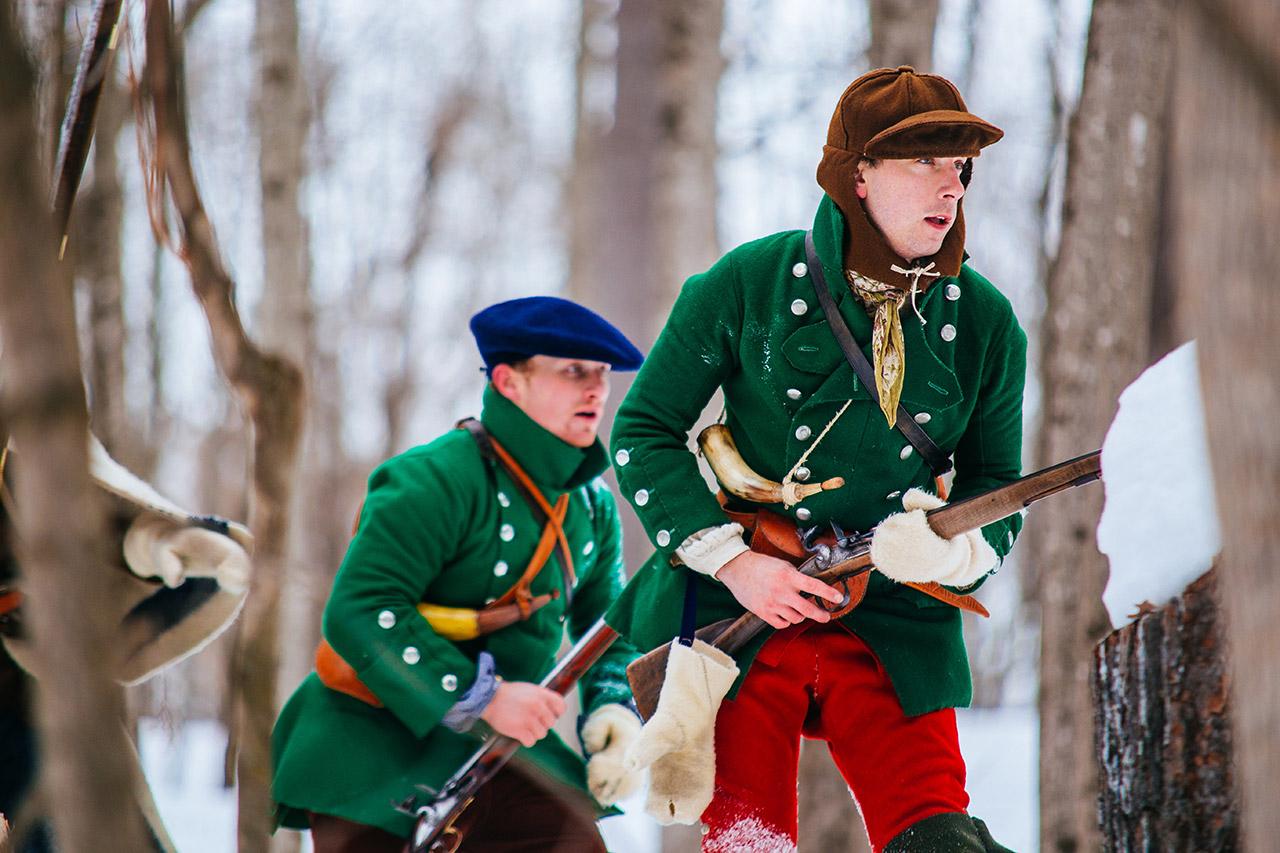 Battle on snowshoes reenactment