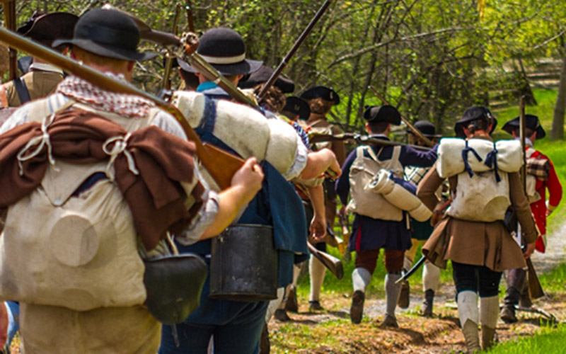 Soldiers marching during Brown's Raid reenactment