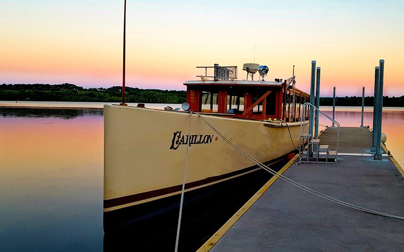 The Carillion cruise boat docked at sunset