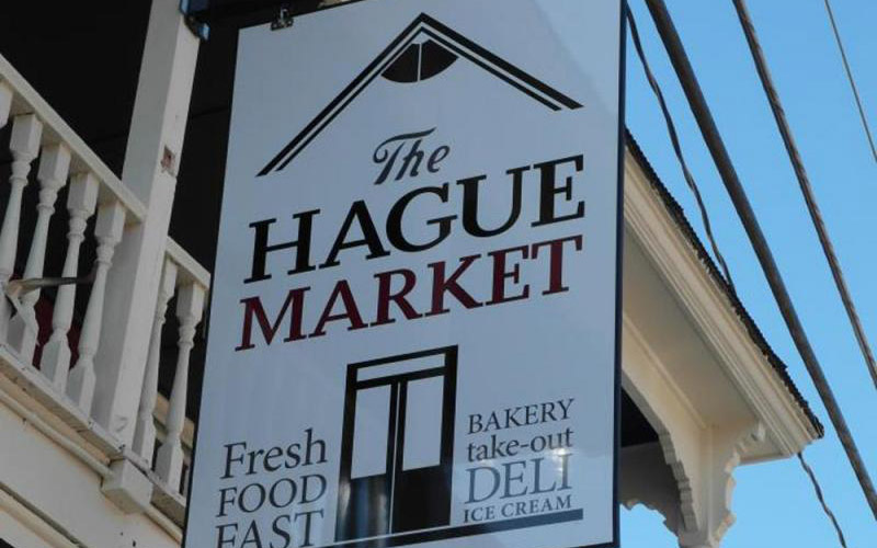 The Hague Market sign
