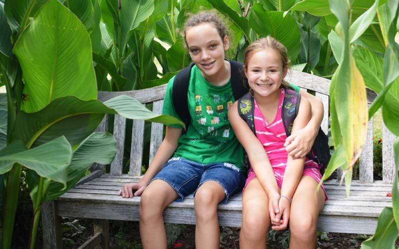 Children on bench during field trip