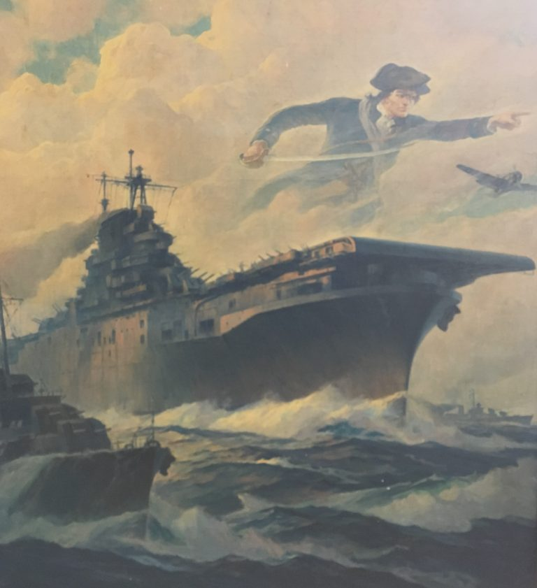 Ships on rough waters, soldier and airplane above