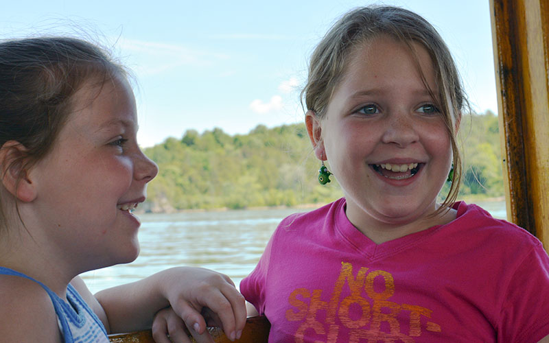Two girls on Carillon boat