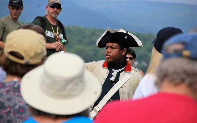 Nick with crowd at Fort Ticonderoga