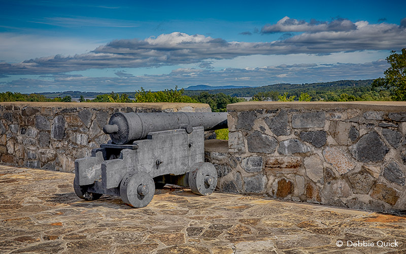 Cannon sitting on top of Fort Ticonderoga wall