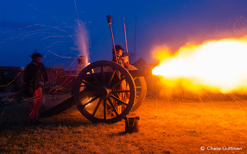 Soldiers shooting cannon during special tour