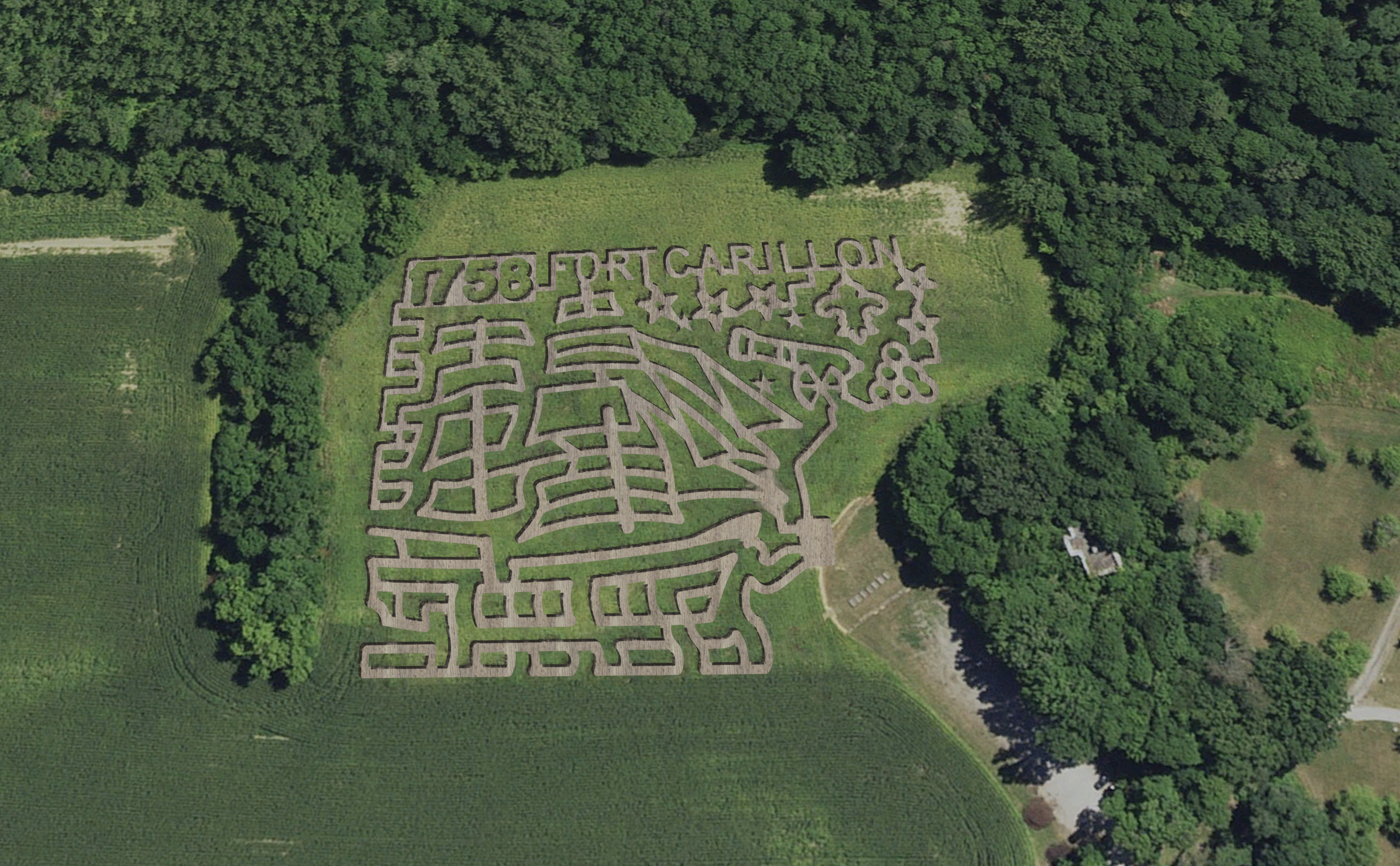 Fort Ticonderoga's heroic corn maze from the air