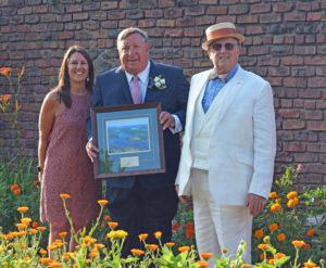 L-R Beth Hill, Fort Ticonderoga President & CEO; awardee Jeff Killeen; Board of Trustees member John Macionis. Jeffry Killeen was awarded the 2019 Sarah Gibbs Thompson Pell Award presented at Fort Ticonderoga's Annual King's Garden Party on July 14, 2019.
