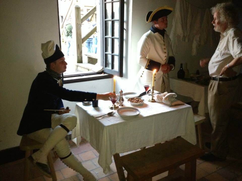 re-enactors and officer's meal in the officer's barracks