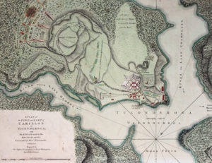 'A Plan of the Town and Fort of Carillon at Ticonderoga; with the Attack made by the British Army Commanded by Genl. Abercrombie, 8 July 1758' by Thomas Jefferys. This c. 1768 map in the Fort Ticonderoga Museum Collection depicts the Battle of Carillon and will be used alongside other contemporary maps and documents for a comprehensive analysis of the Carillon Battlefield. Photo Credit and Copyright Fort Ticonderoga.