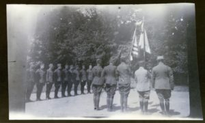Stephen Pell's French and American flags given to SSU 5/646 being dedicated in France on July 4th, 1918