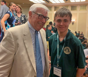 2019 Beaty Family Scholarship winner, Cole Siebels, from Gouverneur High School and John T. Beaty at a National History Academy event.