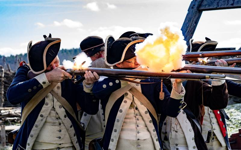 musket firing with smoke