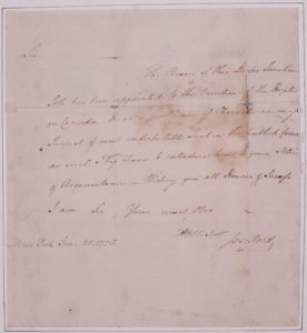 This letter from the Continental Army's Adjutant General Joseph Reed, appointed the Pennsylvanian Jonathan Potts to command the Director of the hospital in Canada. Although the retreat from Québec removed American forces from Canada, Potts continued to tend to the sick of the army from his new post at Fort George where he executed General Gates' orders to distance the sick from the healthy troops. (Fort Ticonderoga Museum Collections, Ms. 1969)