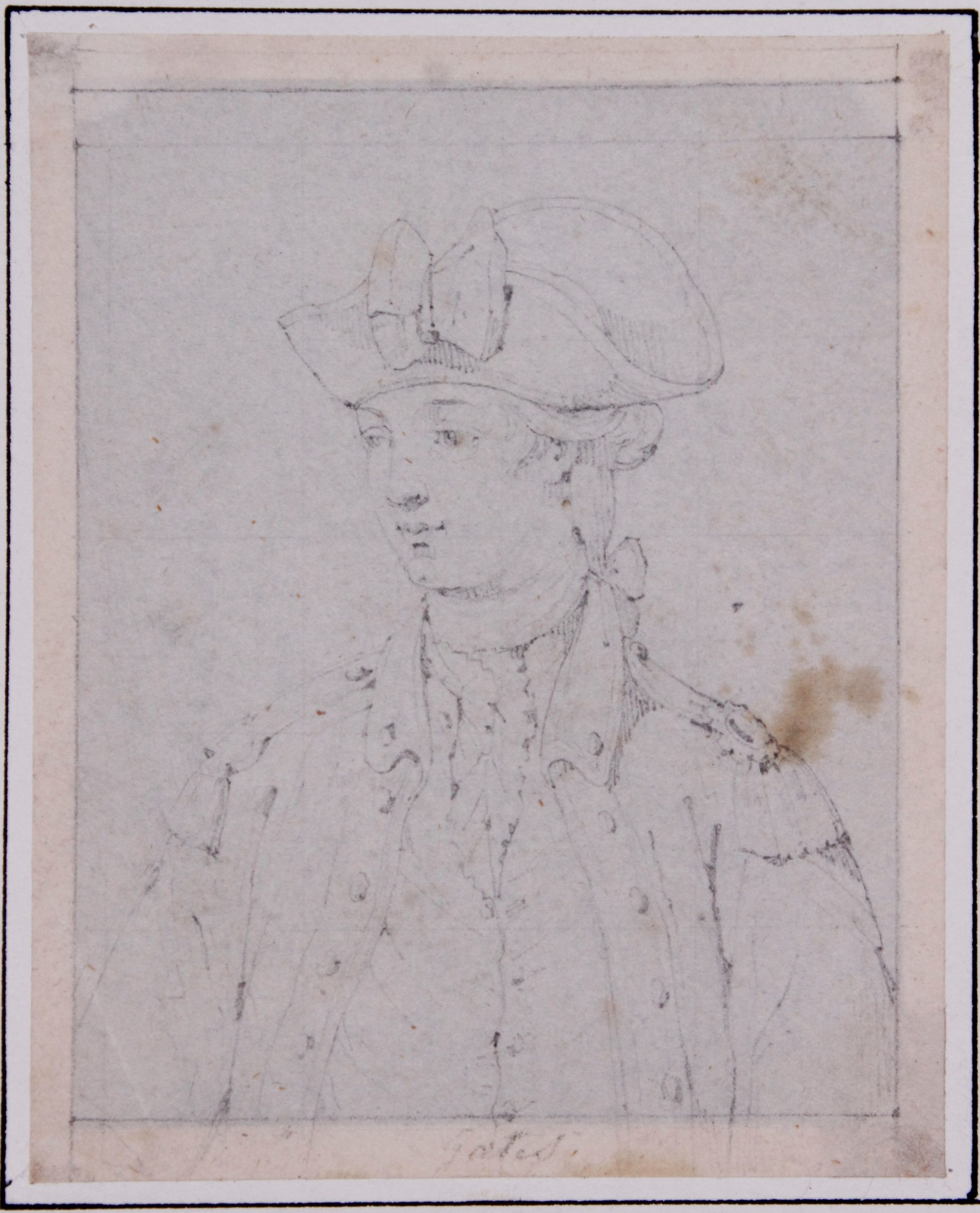 Under Horatio Gates' command the American Army made the decision to fortify Ticonderoga and Mount Independence in July 1776, and avoid the contagion of smallpox. This sketch, identified as General Gates, was found in the papers of Doctor Jonathan Potts in the Fort Ticonderoga Collections. (Fort Ticonderoga Museum Collections, Ms. 2102)