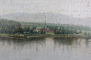 A close look at the shoreline in this painting of the ruins of Fort Ticonderoga revealed the Pavilion as it looked in 1860.