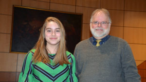 Ally Carvel, 2020 Beaty Family Scholarship winner and Richard Strum, Fort Ticonderoga Director of Academic Programs