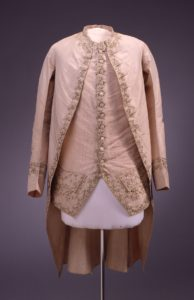 Descendants donated this embroidered silk court suit, attributed to Lotbinière, to Fort Ticonderoga in 1956. Based on its cut he may have worn it in France during the period of the American Revolution.