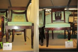 Thanks to additional information from the 1912 Insurance Appraisal from New York City, we confirmed that PAV.8--with its fish carved side rails and paw feet--was the side chair purchased by Sarah Hazard Howland (great grandmother of museum co-founder Stephen Pell) from Madame Jumel of Washington Heights.