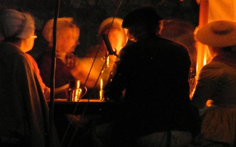 night time photo of reenactors