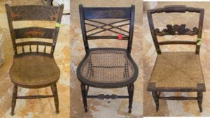 Examples of three different styles of fancy or Hitchcock chairs in the Pavilion Collection.