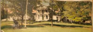 This postcard of the front of the Pavilion from the early 1940's shows a low hedge framing the brick walkway, shade trees, and bigger bushes closer to the house.
