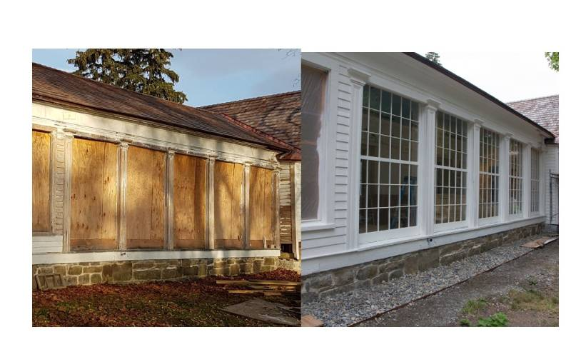 What a difference a few months makes! With the windows replaced and the siding repaired and repainted, the Pavilion exterior undergoes an impressive transformation.